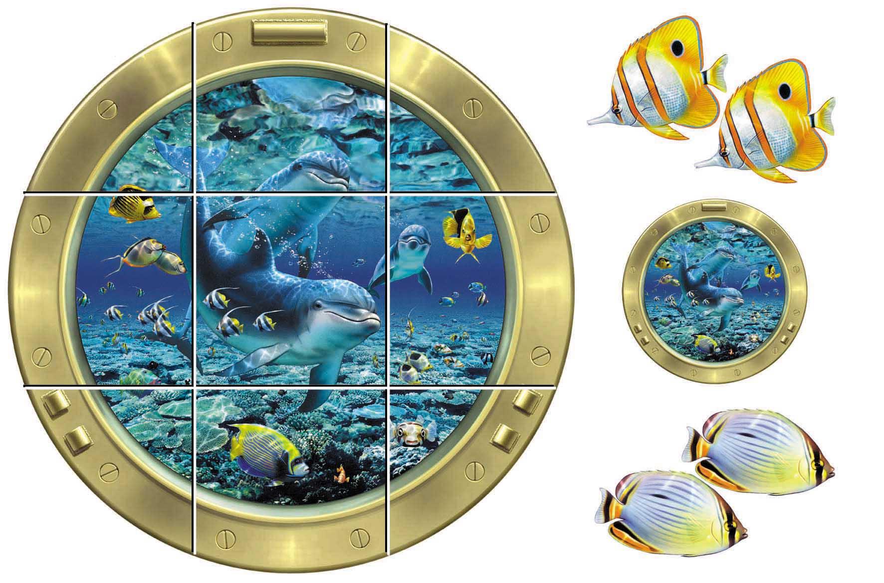 IdeaStix Coral Pals 9-Piece Tile Mural - Original Premium Peel and Stick Décor