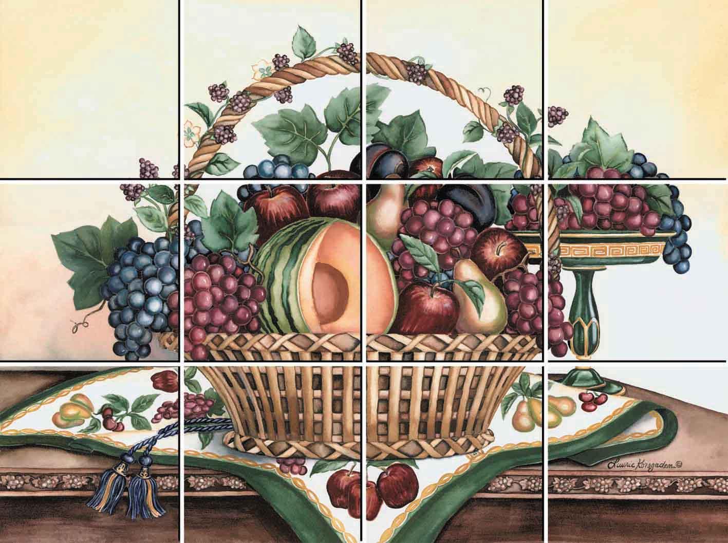 IdeaStix Fruit Basket 12-Piece Tile Mural - Original Premium Peel and Stick Décor