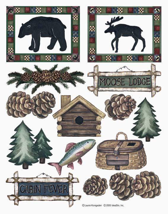 IdeaStix Moose Lodge&Cabin Fever 2-Sheet Accents - Original Premium Peel and Stick Décor