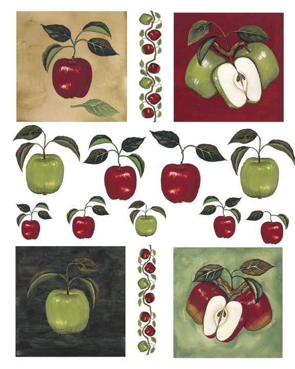 IdeaStix Apples & Vine 2-Sheet Accents - Original Premium Peel and Stick Décor