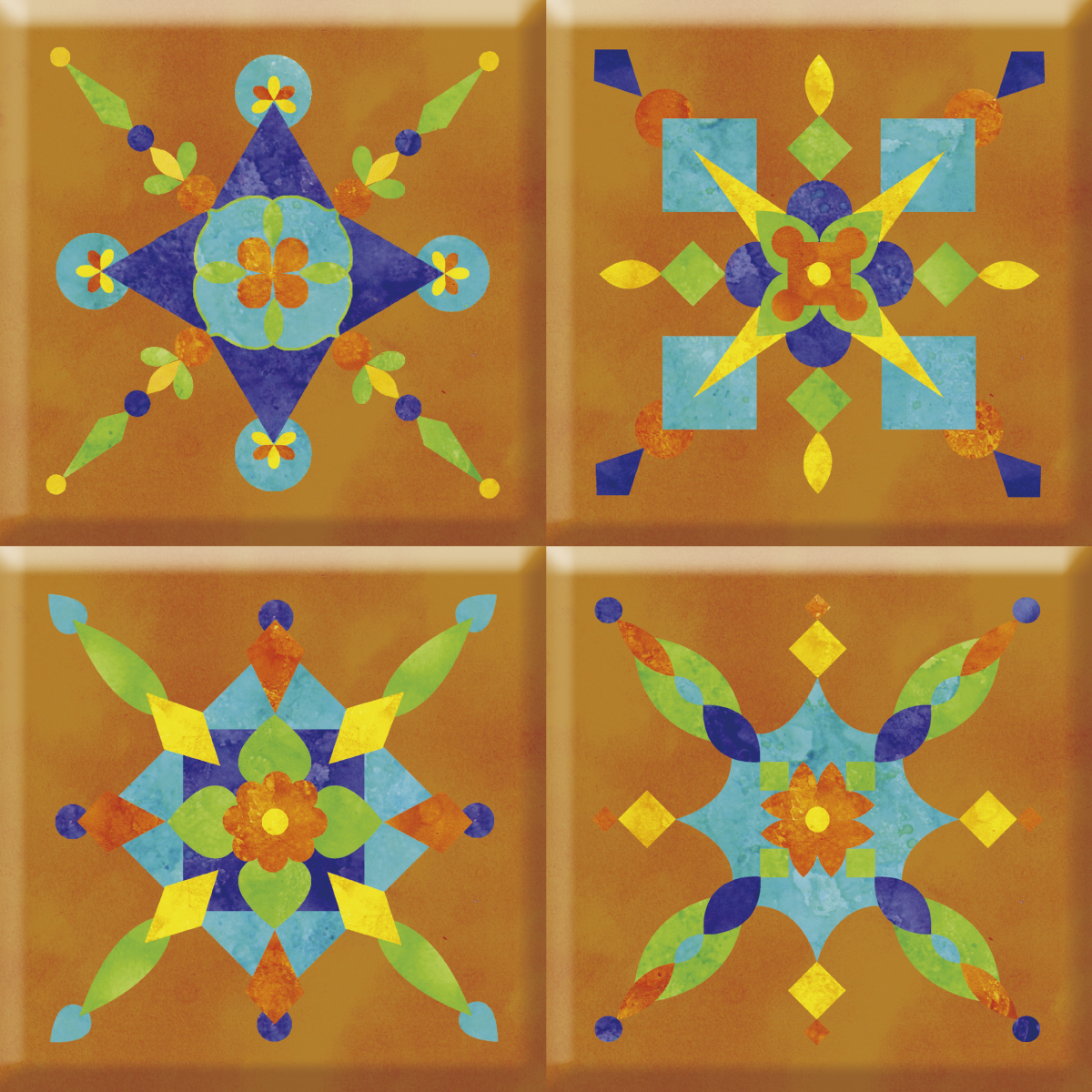 IdeaStix Fiesta TileStix - Original Premium 4-Piece Peel and Stick Tile Décor