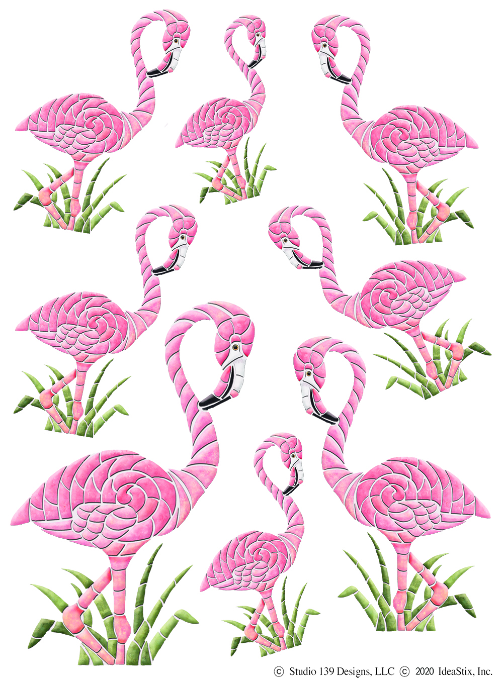 IdeaStix Flamingo 2-Sheet Accents - Original Premium Peel and Stick D??cor