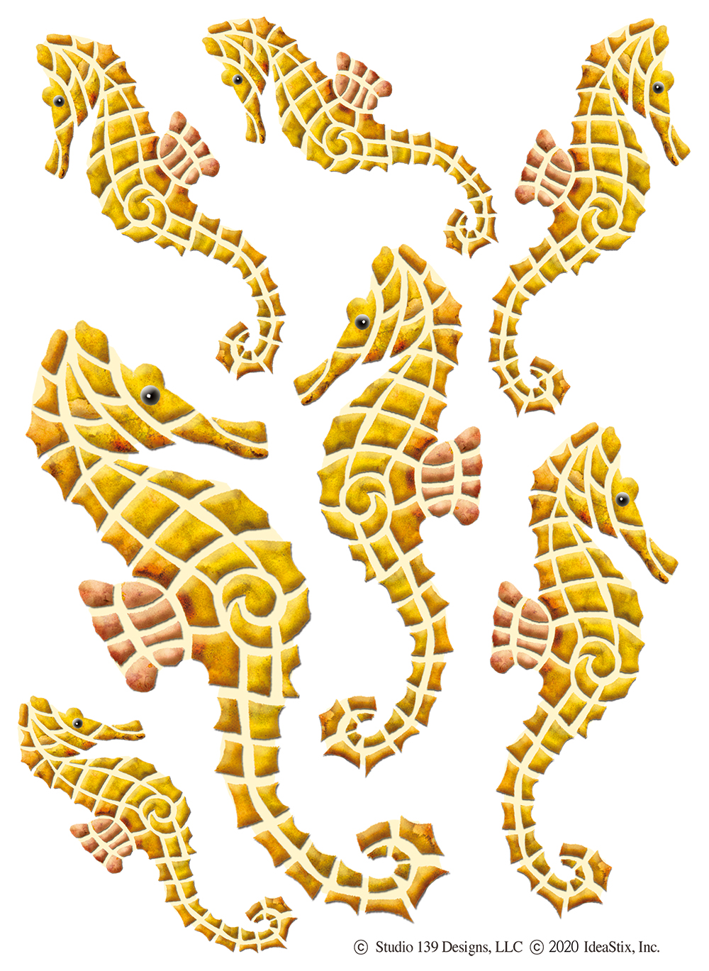 IdeaStix Seahorse 2-Sheet Accents - Original Premium Peel and Stick D??cor