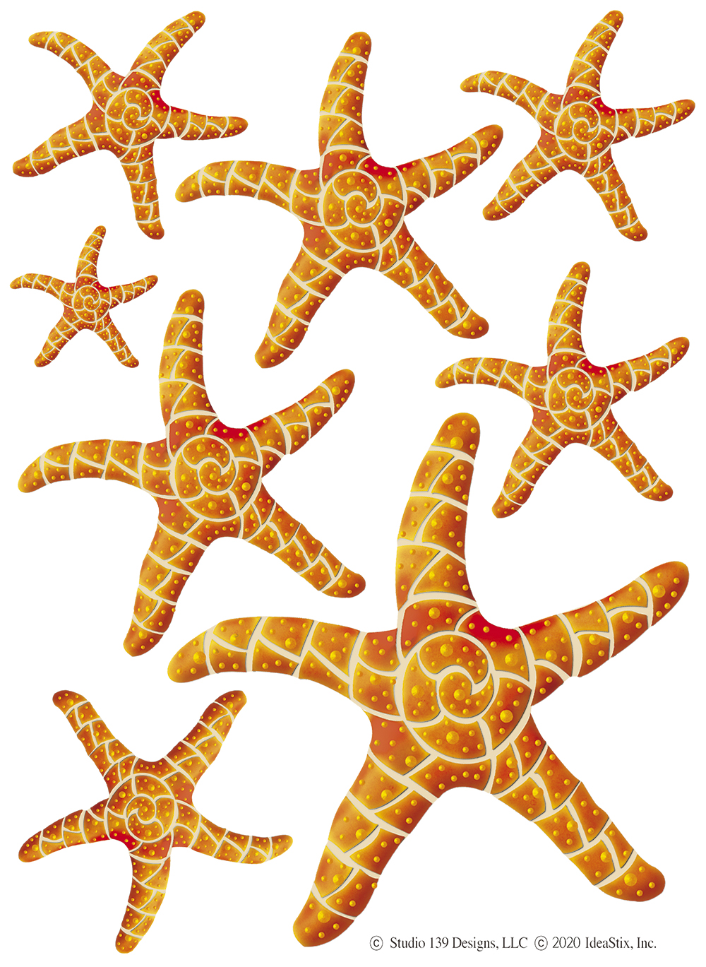 IdeaStix Starfish 2-Sheet Accents - Original Premium Peel and Stick D??cor