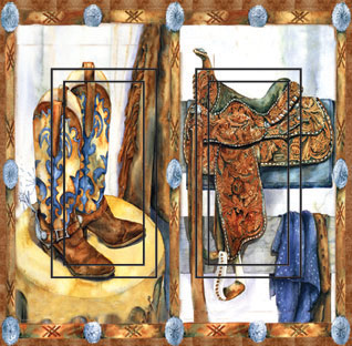 Western Saddle&Boots Double Rocker SwitchStix Peel and Stick Switch Plate Cover Décor