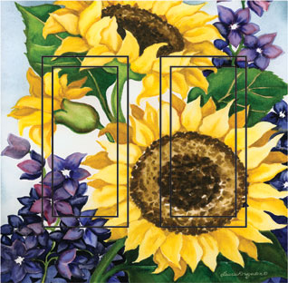 Sunflower Double Rocker SwitchStix Peel and Stick Switch Plate Cover Décor