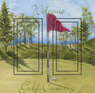 Welcome to Golf Country Double Rocker SwitchStix Peel and Stick Switch Plate Cover Décor