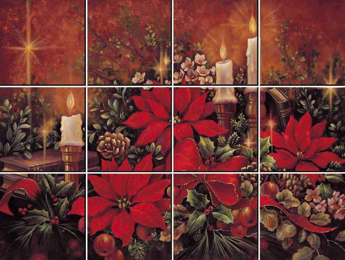 IdeaStix Christmas Poinsettia 12-Piece Tile Mural - Original Premium Peel and Stick D??cor