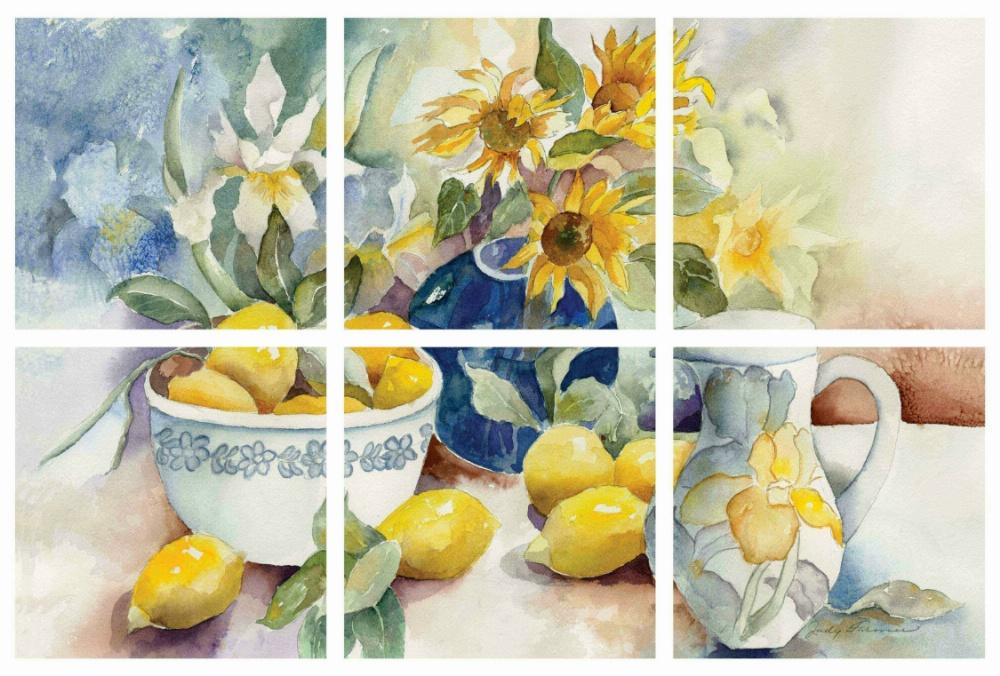 IdeaStix Lemon Table 6-Piece Tile Mural - Original Premium Peel and Stick D??cor