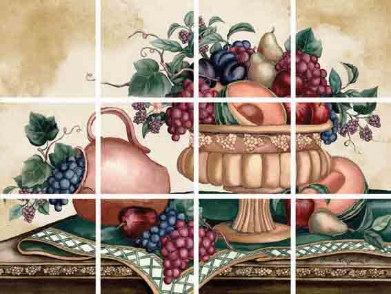 IdeaStix Fruitful Season 12-Piece Tile Mural - Original Premium Peel and Stick D??cor