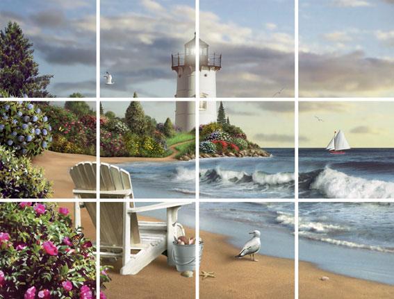 IdeaStix The Perfect Place 12-Piece Tile Mural - Original Premium Peel and Stick D??cor