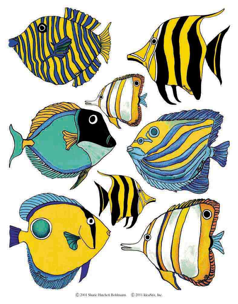 IdeaStix Tropical Fish 2-Sheet Accents - Original Premium Peel and Stick D??cor