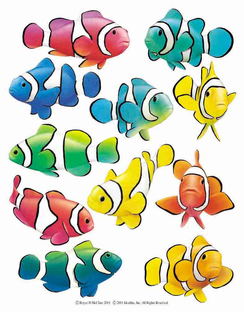 IdeaStix Clown Fish 2-Sheet Accents - Original Premium Peel and Stick D??cor