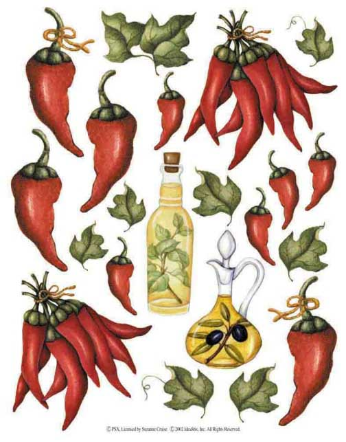 IdeaStix Chili Peppers 2-Sheet Accents - Original Premium Peel and Stick D??cor