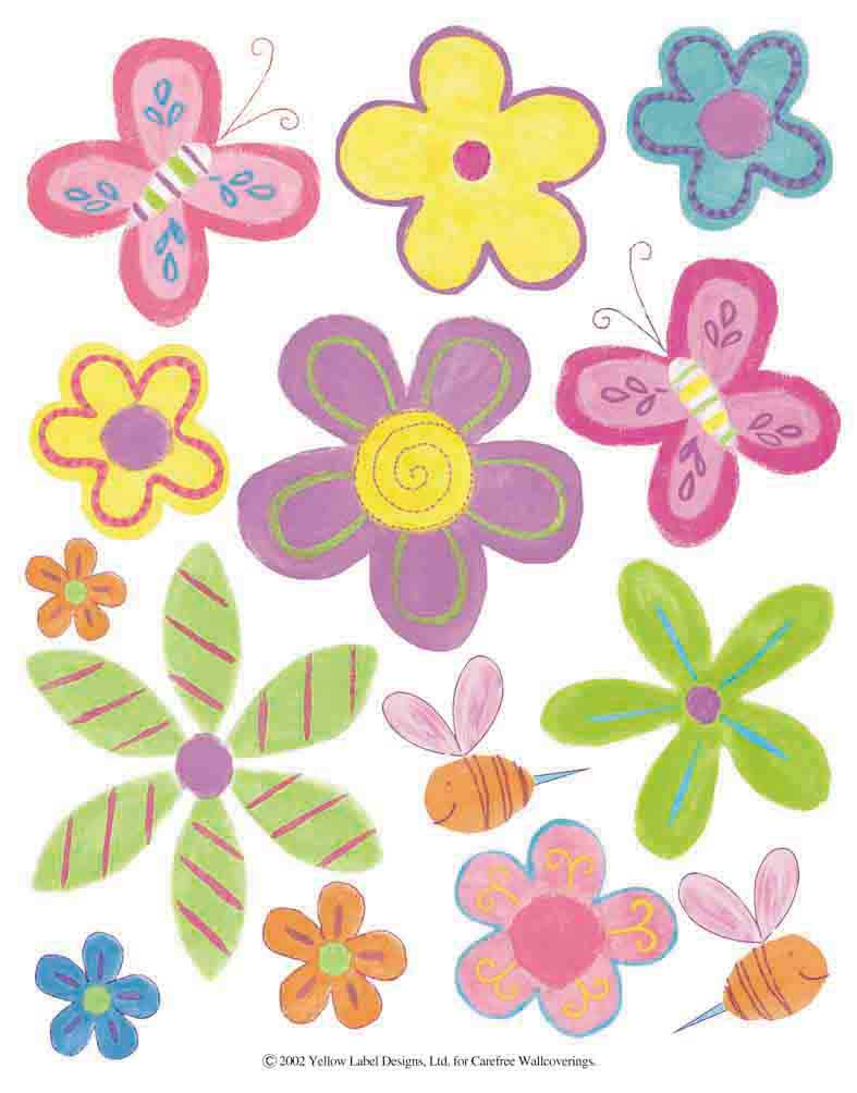 IdeaStix Daisy Butterfly 2-Sheet Accents - Original Premium Peel and Stick D??cor