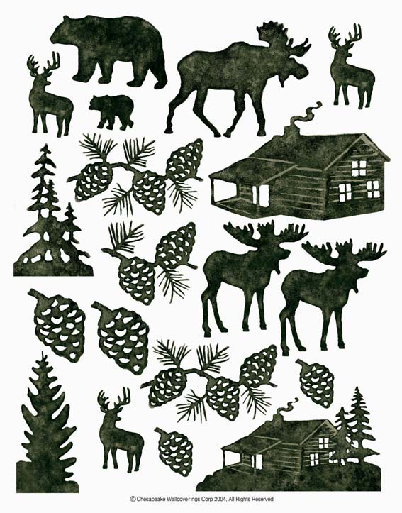 IdeaStix Lodge Silhouettes 2-Sheet Accents - Original Premium Peel and Stick D??cor