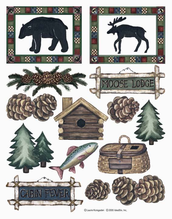 IdeaStix Moose Lodge&Cabin Fever 2-Sheet Accents - Original Premium Peel and Stick D??cor