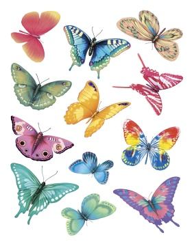 IdeaStix Butterfly Magic 2-Sheet Accents - Original Premium Peel and Stick D??cor