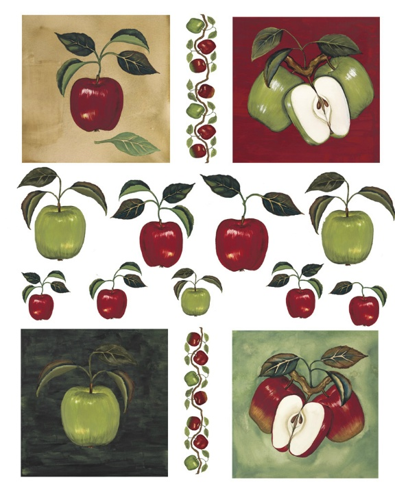 IdeaStix Apples & Vine 2-Sheet Accents - Original Premium Peel and Stick D??cor