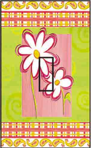 Daisy Cool & Groovy Single Toggle SwitchStix Peel and Stick Switch Plate Cover Décor