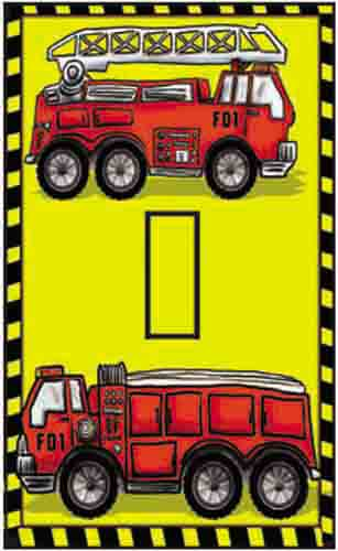 Fire Trucks Single Toggle SwitchStix Peel and Stick Switch Plate Cover Décor