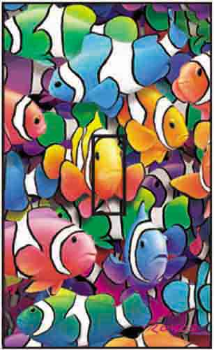Clown Fish Single Toggle SwitchStix Peel and Stick Switch Plate Cover Décor