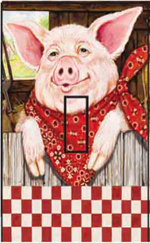 Farmer Pig Single Toggle SwitchStix Peel and Stick Switch Plate Cover Décor