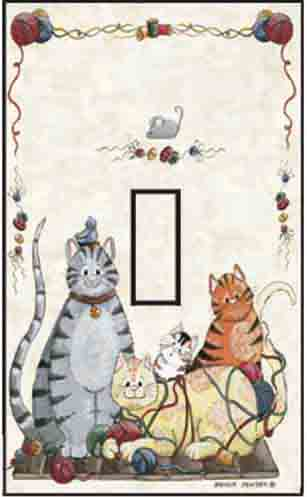 Cats Single Toggle SwitchStix Peel and Stick Switch Plate Cover Décor