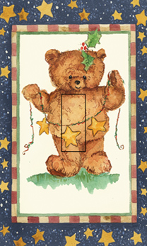 Teddy Bear Single Toggle SwitchStix Peel and Stick Switch Plate Cover Décor