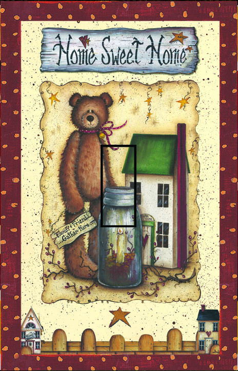 Ted E Bear 1C Single Toggle SwitchStix Peel and Stick Switch Plate Cover Décor