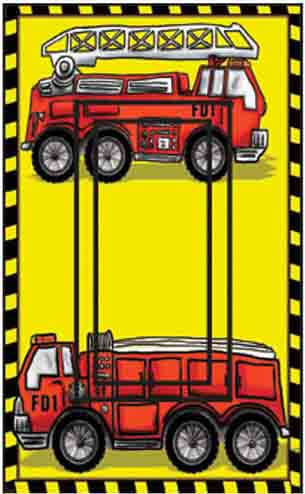Fire Trucks Single Rocker SwitchStix Peel and Stick Switch Plate Cover Décor