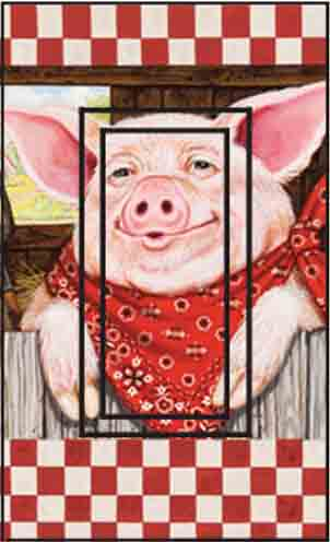 Farmer Pig Single Rocker SwitchStix Peel and Stick Switch Plate Cover Décor