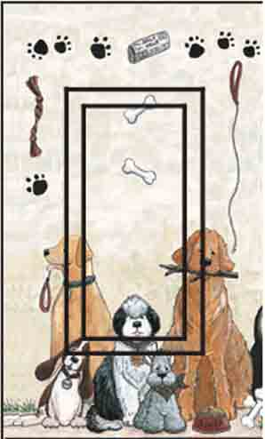 Dogs Single Rocker SwitchStix Peel and Stick Switch Plate Cover Décor