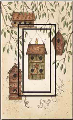 Birdhouse Blessings Single Rocker SwitchStix Peel and Stick Switch Plate Cover Décor