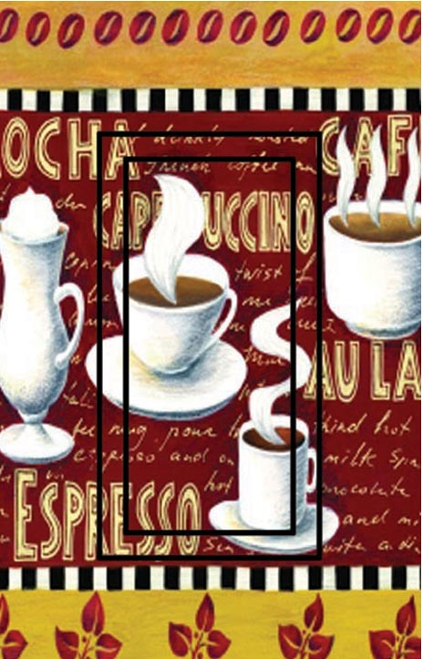 Coffee Time Single Rocker SwitchStix Peel and Stick Switch Plate Cover Décor
