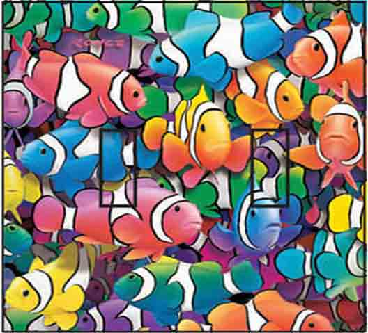 Clown Fish Double Toggle SwitchStix Peel and Stick Switch Plate Cover Décor