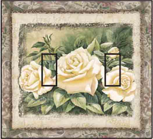 White Rose Double Toggle SwitchStix Peel and Stick Switch Plate Cover Décor