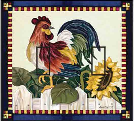 Roosters Double Toggle SwitchStix Peel and Stick Switch Plate Cover Décor