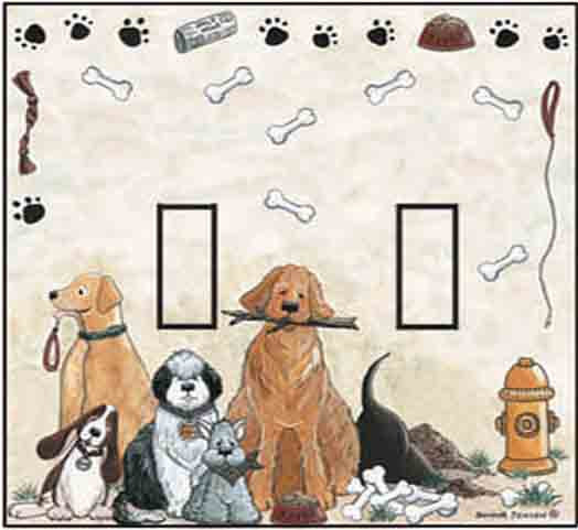 Dogs Double Toggle SwitchStix Peel and Stick Switch Plate Cover Décor