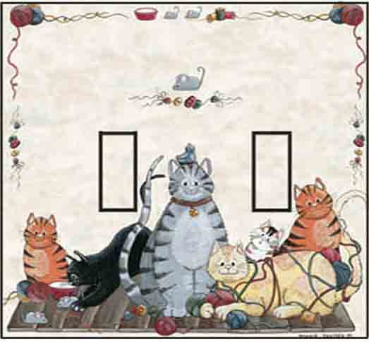 Cats Double Toggle SwitchStix Peel and Stick Switch Plate Cover Décor