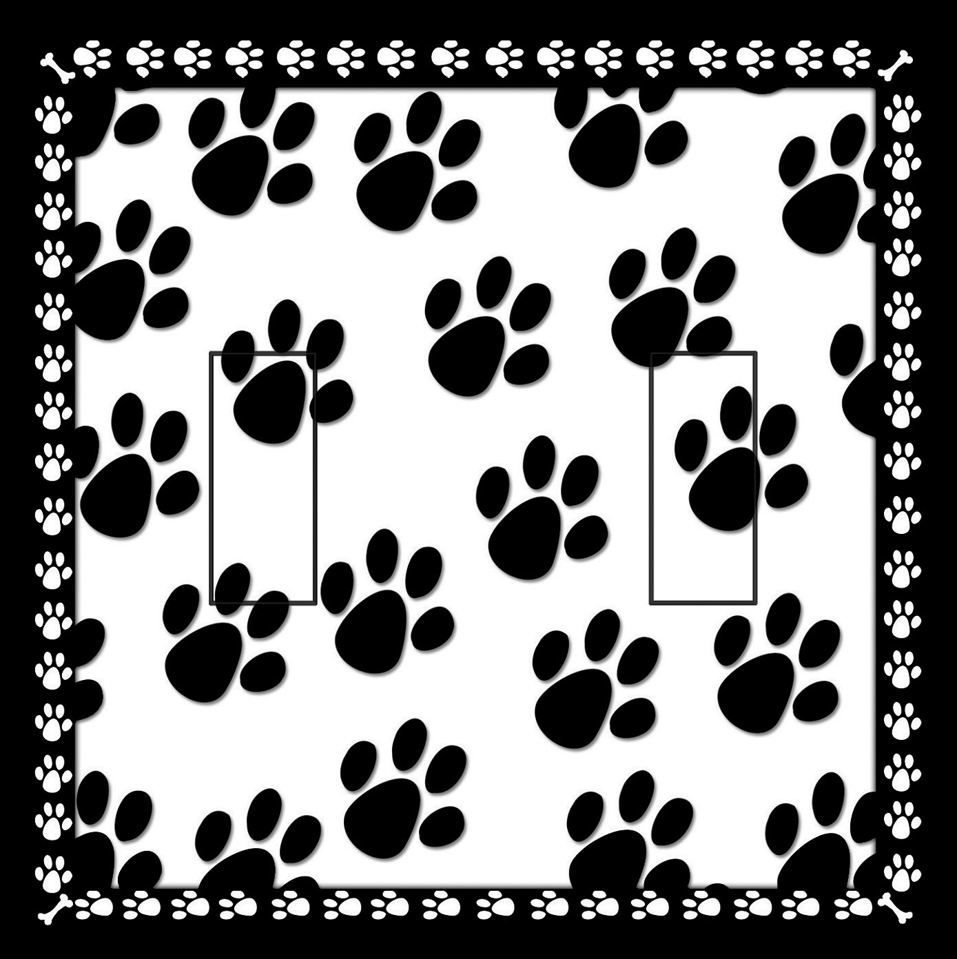 Dog Paw Prints Double Toggle SwitchStix Peel and Stick Switch Plate Cover Décor