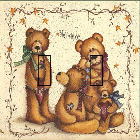 Ted E Bear 1A Double Toggle SwitchStix Peel and Stick Switch Plate Cover Décor