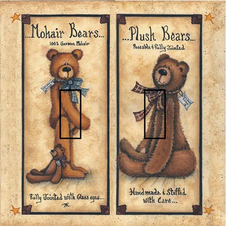 Ted E Bear 1B Double Toggle SwitchStix Peel and Stick Switch Plate Cover Décor