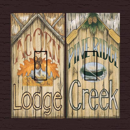 Acorn&Pine Ridge Double Toggle SwitchStix Peel and Stick Switch Plate Cover Décor
