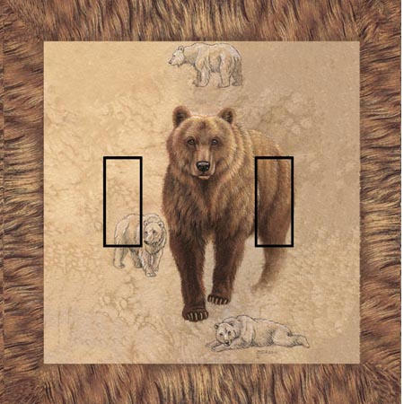 Brown Bear  Double Toggle SwitchStix Peel and Stick Switch Plate Cover Décor