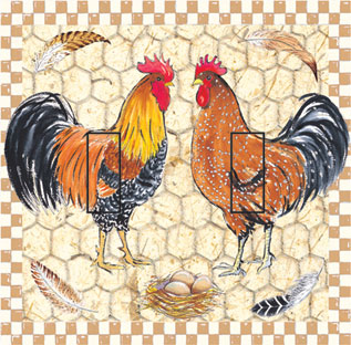 Pretty Boy Roosters Double Toggle SwitchStix Peel and Stick Switch Plate Cover Décor