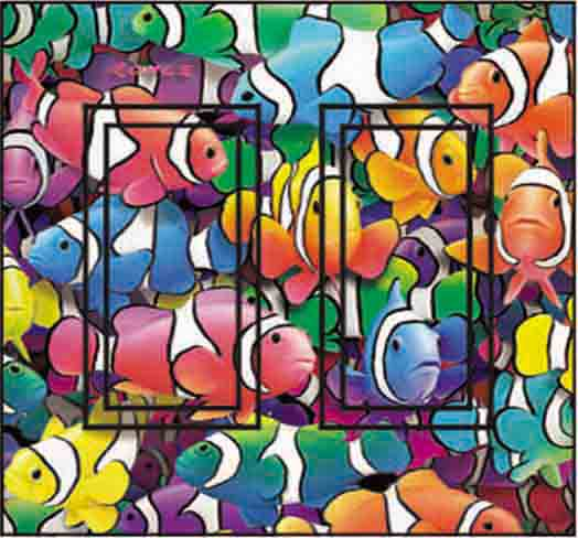Clown Fish Double Rocker SwitchStix Peel and Stick Switch Plate Cover Décor