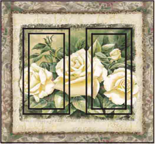 White Rose Double Rocker SwitchStix Peel and Stick Switch Plate Cover Décor