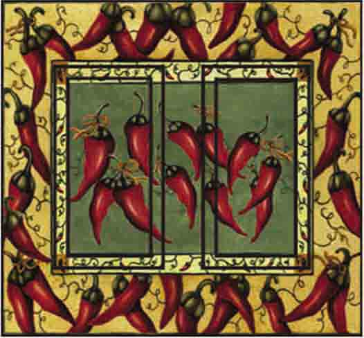 Chili Pepper Double Rocker SwitchStix Peel and Stick Switch Plate Cover Décor