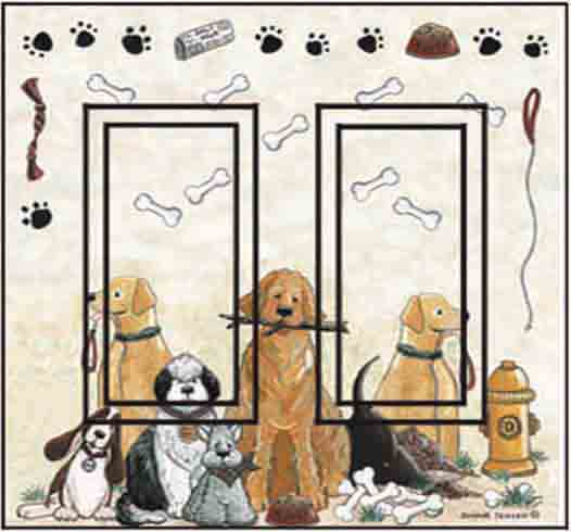 Dogs Double Rocker SwitchStix Peel and Stick Switch Plate Cover Décor